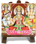 Tiedribbons Yellow And Red Ceramic Laxmi Ganesha Idol