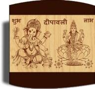 Tiedribbons Beige And Brown Ceramic Shubh Deepavali Ganesh Laxmi Idols