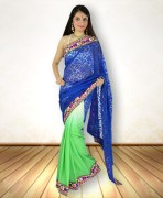 Light Green Multicolored Synthetic Saree