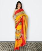 Red & Orange Bhagalpuri Khadi Silk Saree