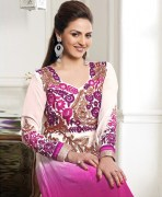 Purple Multicolored Faux Georgette Semi Stitched Anarkali Suit Set