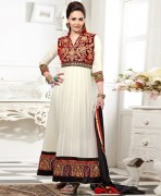 Fabfiza Esha Deol Georgette White & Red Semi Stitched Long Anarkali Suit