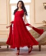 Red Net & Brasso Semi Stitched Anarkali Suit Set