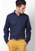 Andrew Hill Navy Blue Poplin Full Sleeve Formal Shirt