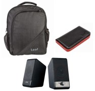 Leaf Solo Laptop Bag + Card Holder + F&D U213A Wired Laptop Speaker 3-In-1 Combo