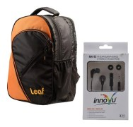 Leaf Tork Backpack + Innovu Mk-32 Wired Headphones Combo