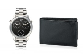 Rico Sordi fashion Black Dial Multifuction dual time Steel watch & wallet RSD24_WW