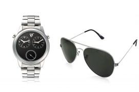 Rico Sordi fashion Black Dial Multifuction dual time Steel watch & Sunglass RSD35_WSG