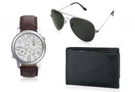 Rico Sordi fashion Brown Multifuction Dual time Leather watch,Sunglass & Wallet RSD44_WSGW