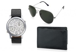 Rico Sordi fashion Black Multifuction Dual time Leather watch,Sunglass & Wallet RSD45_WSGW