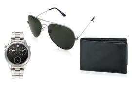 Rico Sordi fashion Black Dial Multifuction dual time Steel watch,Sunglass & wallet RSD46_WSGW