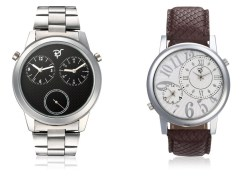 Rico Sordi fashion Multifunctional Dual Time watches with Stainless Steel Strap and Brown Leather Strap RSD52_S2_LS