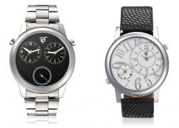 Rico Sordi fashion Multifunctional Dual Time watches with Stainless Steel Strap and Black Leather Strap RSD53_S2_LS