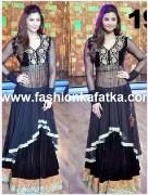 Clickingo Daisy Shah Black Bollywood Anarkali Dress