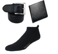 Stylish Combo of Leather wallet, Belt & a pair of Ankle Socks