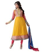 Yellow & Pink Colour Party Wear Georgette  Unstcitched Anarkali Dress Material With Stone Work