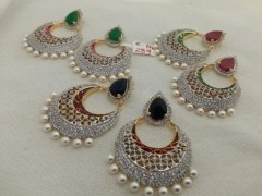 Disha Diamonds 289 Diamond And Pearl Round Earrings ( Combo Of 3)