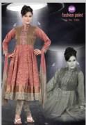 Resplendent Carrot Color Banaras Silk Anarkali Salwar Kameez