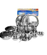 Neelam Silver Stainless Steel Dinner Set (26 Piece)