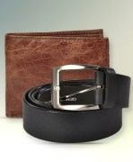 Leather Belt & Wallet Combo For Men