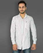 White Striped Cotton Casual Shirt