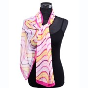Dupatta Bazaar DB-0243 Pink Background Curly Lines Pattern Stole