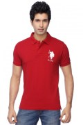 U.S.Polo Assn.-Mens Half Sleeves Slim Fit Solid Polo T-Shirt