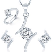 Sukkhi Angelic Rhodium Plated Solitaire CZ Jewellery