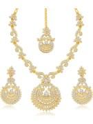 Sukkhi Incredible Gold Plated Necklace Set with Maang Tikka