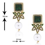 SpargzAIER 164 Dangling Kundan Emrald Pearl Earring