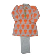 Jaipuria Kurta With Silk Churidar For Kids