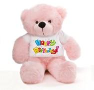 Big Teddy Bear Wearing Happy Birthday T-shirt