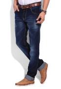 Stylish Slim Fit NavyBlue Washed Jeans