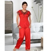 Red Satin With Fancy Lace Night Suit