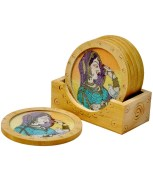 Jaipur Raga Gemstone Painting Wooden Tea Coasters