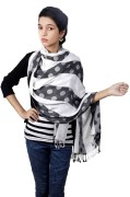 Flying Colors Polka Dot Balck And White Shawls and Stoles