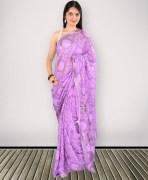 Purple Synthetic Sequin Work Saree