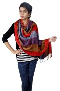 Flying Colors Sky Blue Orange Shawls and Stoles