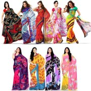 Wespro 9G9 Set of 9 Premium Georgette Sarees