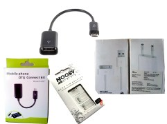 Combo of iPhone 4/4s Charger, Free OTG Cable and Nossy SIM Adaptor