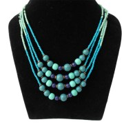 Aza Collection Blue Stone Spike Metal, Enamel Necklace