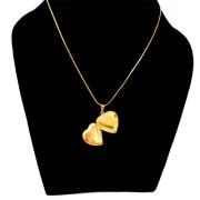 Aza Collection Stylish Heart Shape Pendant Locket Golden
