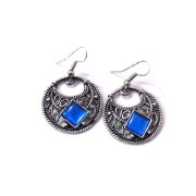 Aza Collections Metal Hoop Earring For Women (Blue)