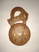 Handicraft Antique Handmade Wooden Brass Key Holder In Lock Shape - 6 Hooks