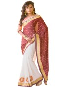 RED & WHITE COLOUR GEORGETTE SAREE WITH FANCY PALLU GR-8202