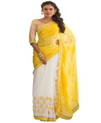 WHITE & YELLOW COLOUR GEORGETTE SAREE WITH FANCY PALLU