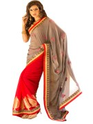 RED & GREY COLOUR GEORGETTE SAREE WITH FANCY PALLU