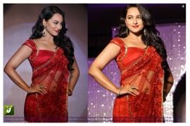 sonakshi sinha Red color Bright net Bollywood Replica Saree