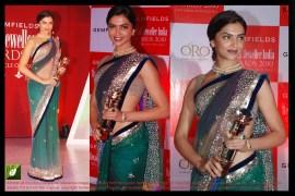 Deepika Padukone Green Color Bright net Bollywood Replica Saree