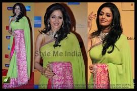 Bollywood Designer Sridevi Apple Green with Pink Border Saree